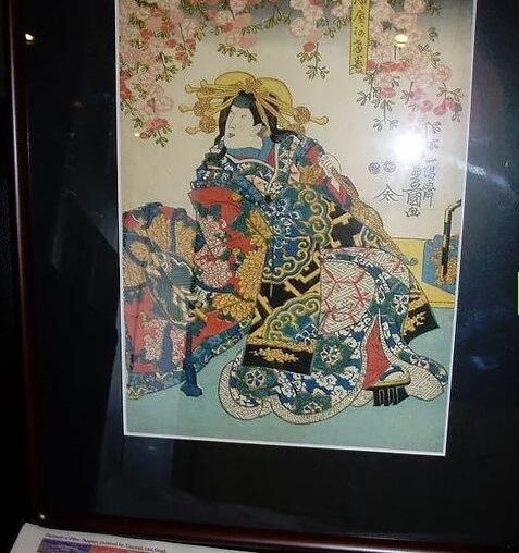 Genuine antique Ukiyo-e woodblock print, Utagawa Toyokuni III, in frame