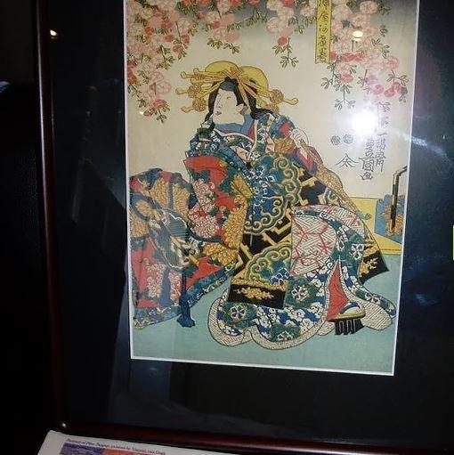 Ukiyo-e woodblock print by Utagawa Toyokuni, Kabuki Miuraya, mounted in frame