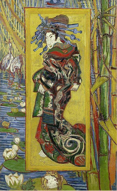 Similar drawing referring Ukiyo-e by Van Gogh
