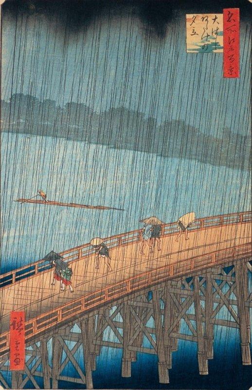 Hiroshige's masterpiece of Japanese Ukiyo-e, raining