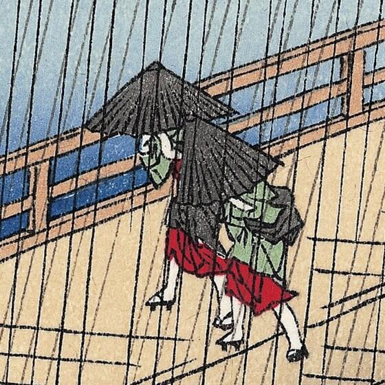 Hiroshige's masterpiece of Japanese Ukiyo-e, details of people