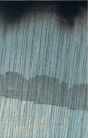Hiroshige's masterpiece of Japanese Ukiyo-e, details of rain