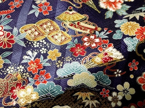 Kyo Yuzen Kimono fabric, a Japanese traditional craft, details of pattern 1