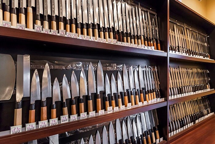 Sharpest Japanese chef knives, sold in a shop