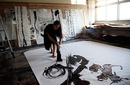 a big scale Japanese calligraphy shodo work