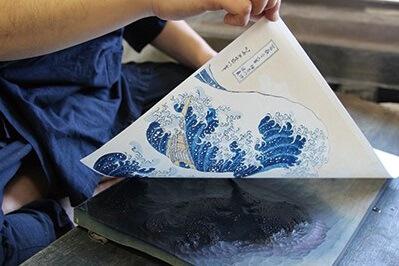 printing Ukiyo-e woodblock print by traditional process