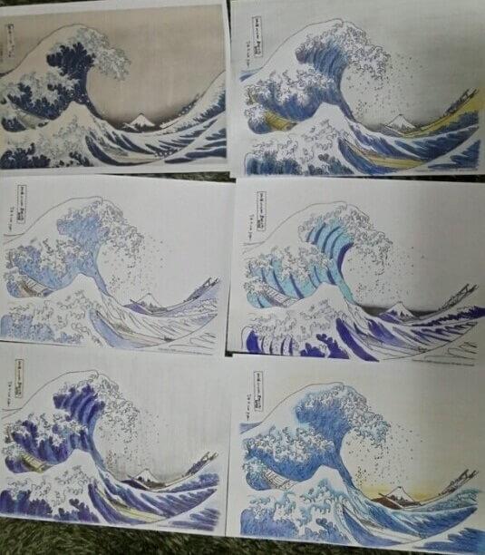 color layering process of Ukiyo-e woodblock print