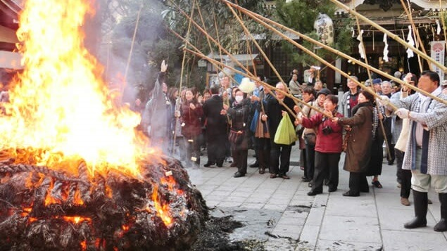Dondo-yaki festival in Japan; burning shodo works