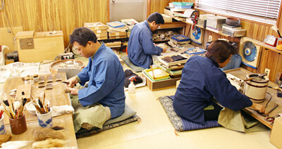 craftsmen are making Nara writing brush for Japanese calligraphy or shodo
