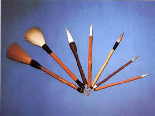 product examples of Nara writing brushes, a Japanese traditional craft