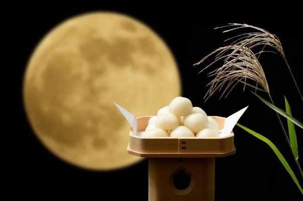 Japanese moon viewing, moon and dumpling
