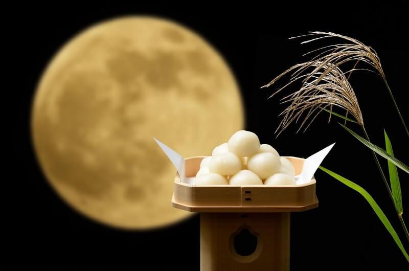 Japanese moon viewing, moon and dumpling