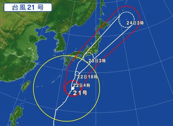 expected route of a typhoon in Japan