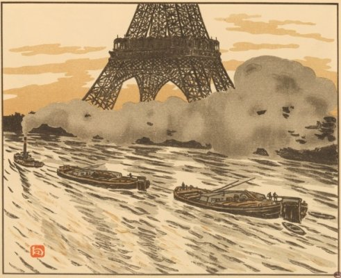 a Ukiyo-e woodblock print of Paris, Effel Tower
