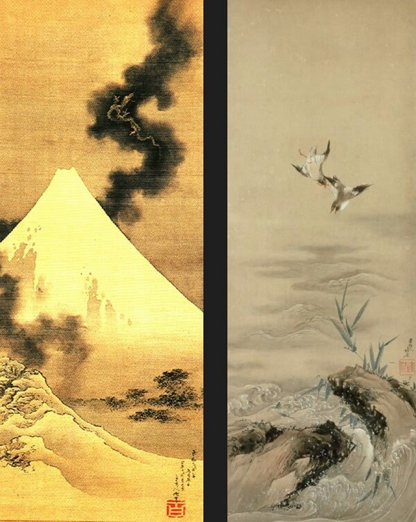 Japanese artistic woodblock print, Ukiyo-e, drawings by Hokusai in his age of 80-90