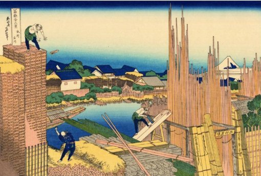 series of oil painting, innovative composition by Katsushika Hokusai