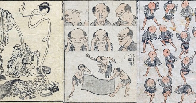 series of oil painting, Hokusai Manga