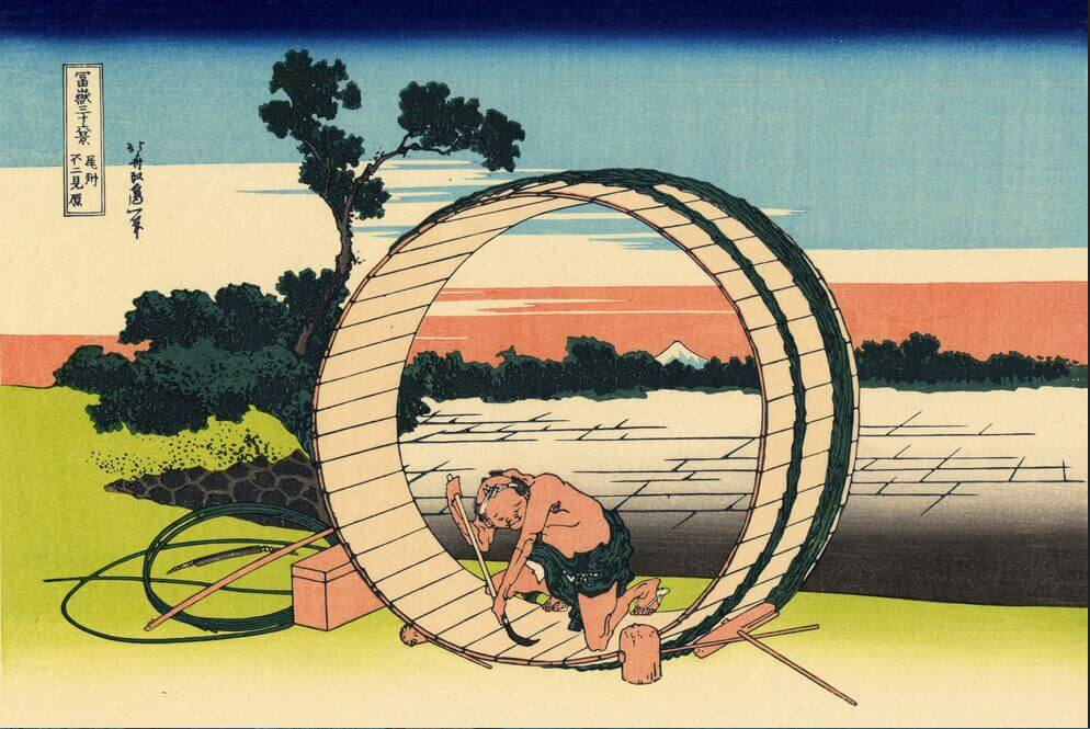 Ukiyo-e, Japanese woodblock prints drawn by eccentric and innovative techniques, one by Hokusai