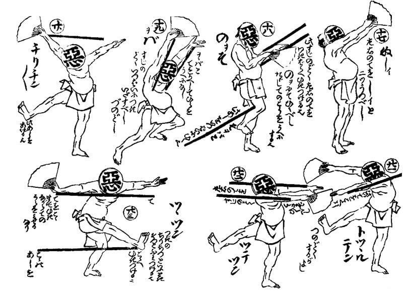 Ukiyo-e, Japanese woodblock prints drawn by eccentric and innovative techniques, details of Hokusai Manga