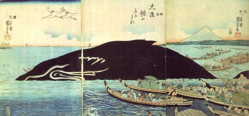 Ukiyo-e, Japanese woodblock prints drawn by eccentric and innovative techniques, one by Utagawa Kuniyoshi