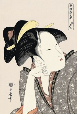Bijin-ga, Ukiyo-e of beautiful woman, by Kitagawa Utamaro, entire view