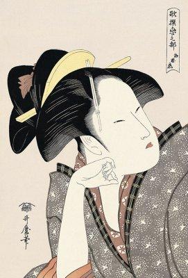 Bijin-ga, Ukiyo-e of beautiful woman, by Kitagawa Utamaro, entire view