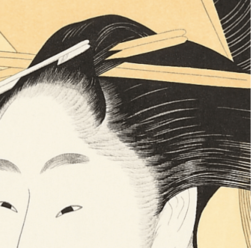 Bijin-ga, Ukiyo-e of beautiful woman, by Kitagawa Utamaro, details of hair