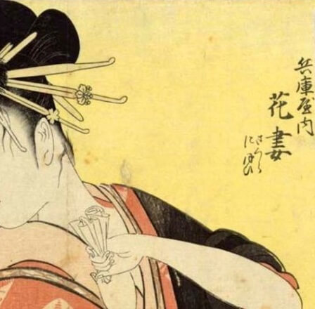 Bijin-ga, Ukiyo-e of beautiful woman, by Kitagawa Utamaro, details of background