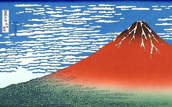 famous Ukiyo-e of red Mt. Fuji by Hokusai