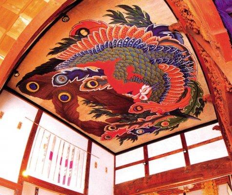 Original painting by Katsushika Hokusai in Gansho-in in Obuse