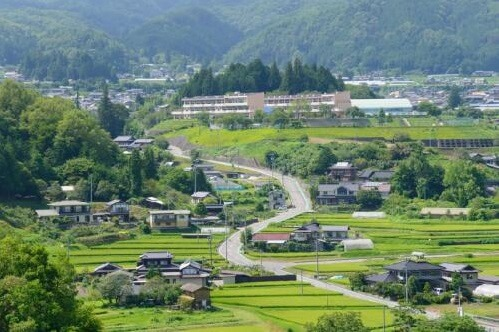 landscape of Obuse town in Nagano prefecture