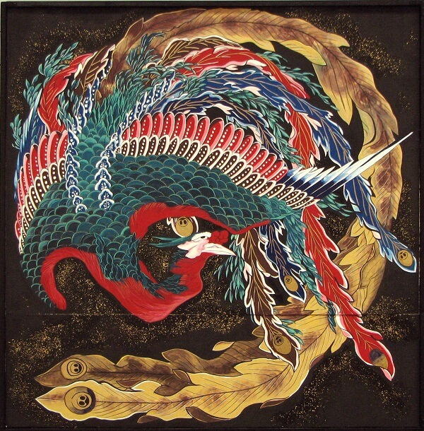 The Phoenix drawn by Katsushika Hokusai in Obuse