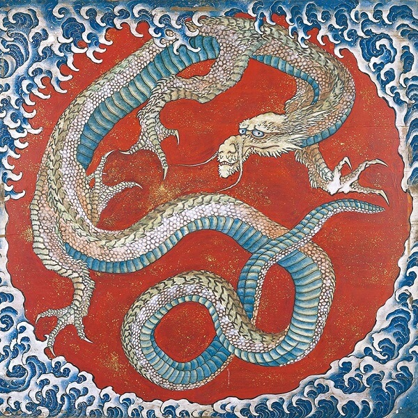The Dragon drawn by Katsushika Hokusai in Obuse