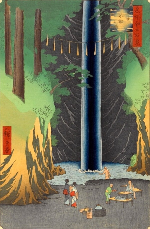 Ukiyo-e, Japanese woodblock print, waterfall by Utagawa Hiroshige